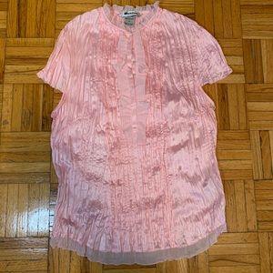 Nygard Petite Powder Pink Blouse Ruffle